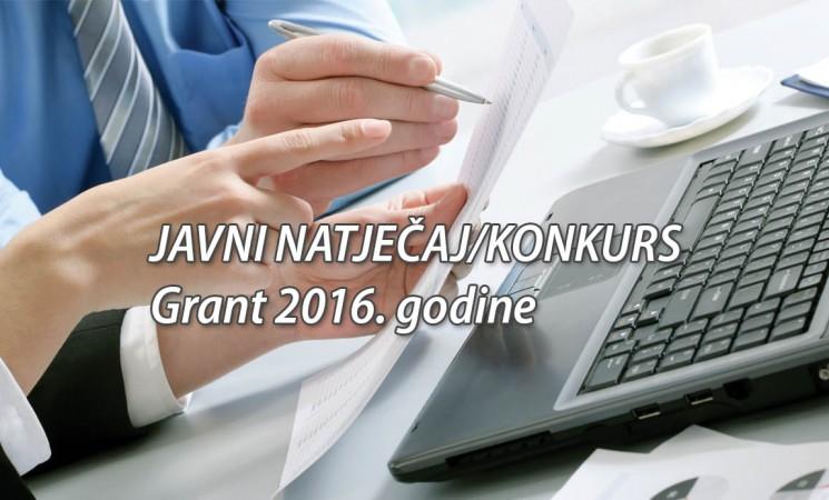 JAVNI NATJEČAJ – Grant 2016. godine